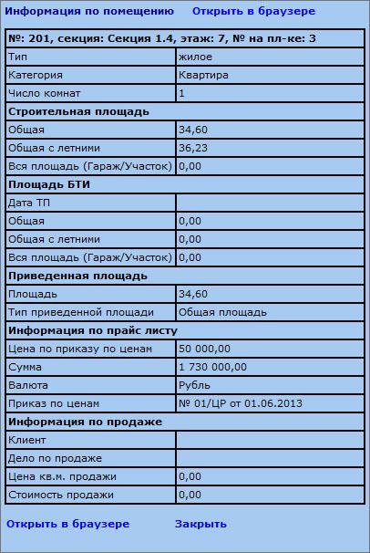 подробные параметры квартиры CRM